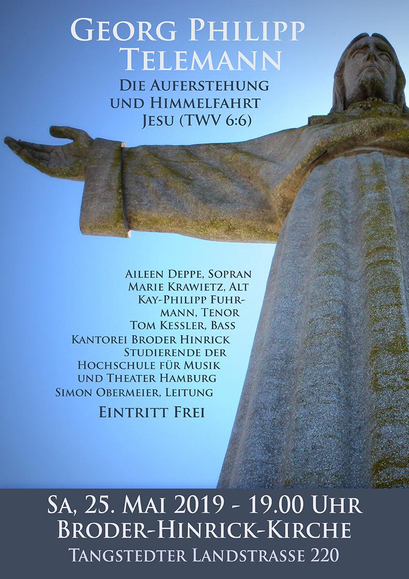 Plakat zum Telemann-Konzert der Kantorei Broder Hinrick.
