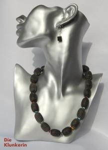 N_ES-GL_K_Si-KN 48,5cm Lava große Oliven mit bunten Glaszw.Teilen 20x15mm