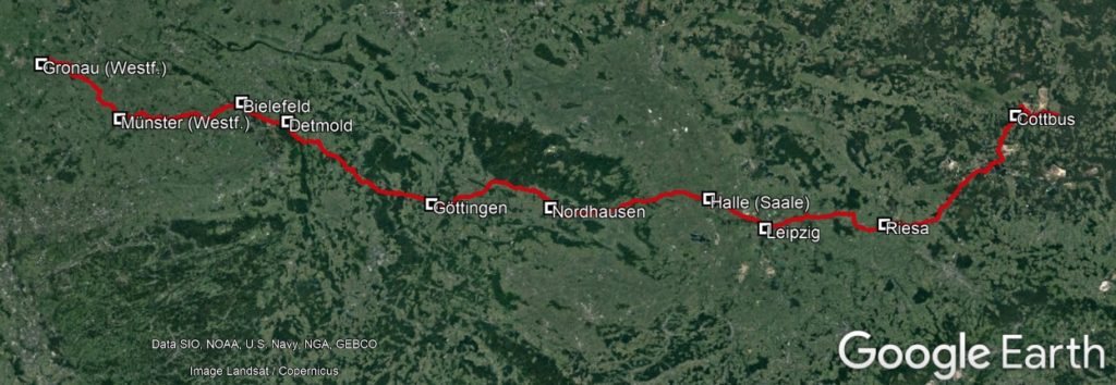 geplante Route in D, KPW2020